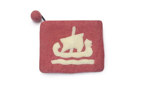 Purse, Viking Ship, Coral