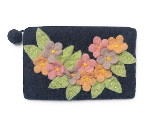 Pencil Case, Flowers, Blue