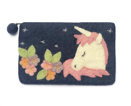 Pencil Case, Unicorn/Flowers