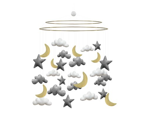 Mobile, Cloud/Moon/Star, Grey/Yellow